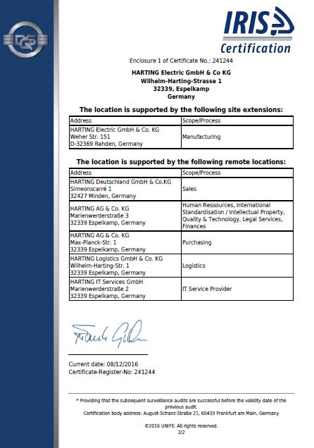 IRIS Certificate2- Harting