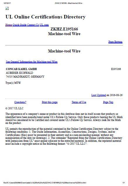 UL file no ZKHZ.E195166 for machine wires